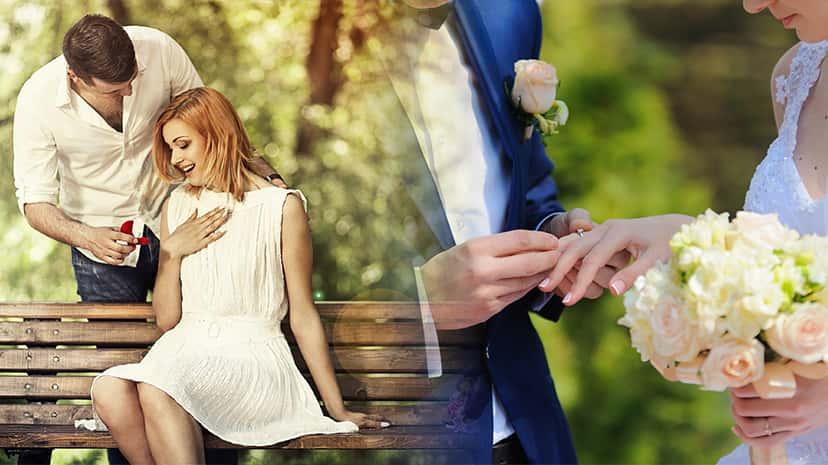 左:婚約、右:結婚